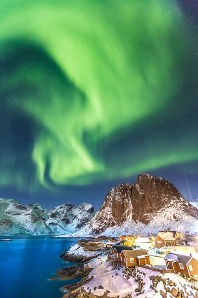 Northern Lights In Hamnoy Art Print