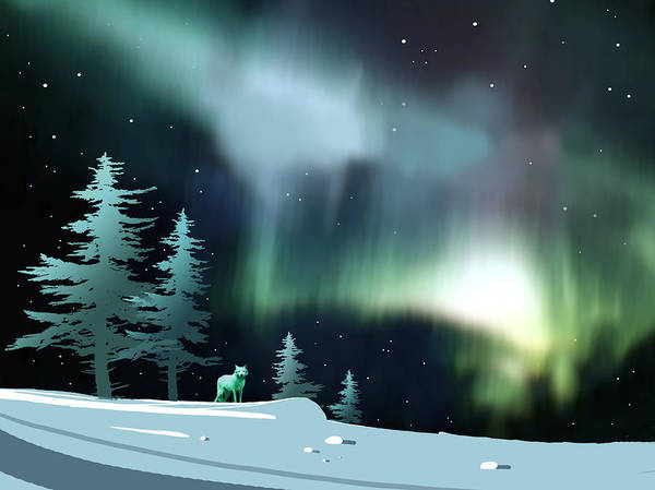 Arctic Wolf Painting - Northern Lights by Paul Sachtleben
