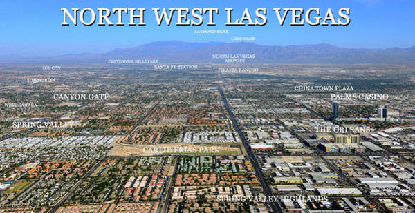 Wall Art - Photograph - Northwest Las Vegas Place Name Map by David Lee Thompson