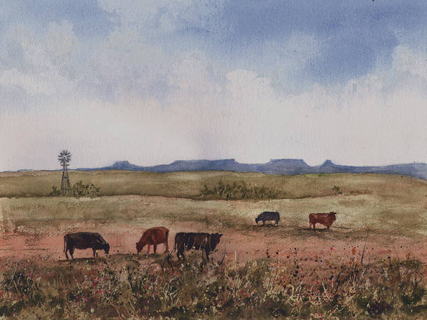 Painting - Northwest Oklahoma Cattle Country by Sam Sidders