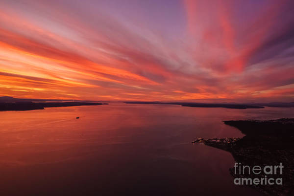 Freighter Wall Art - Photograph - Northwest Searing Sunset Palette by Mike Reid