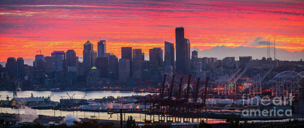 Wall Art - Photograph - Northwest Sunrise Seattle And Port Panorama by Mike Reid