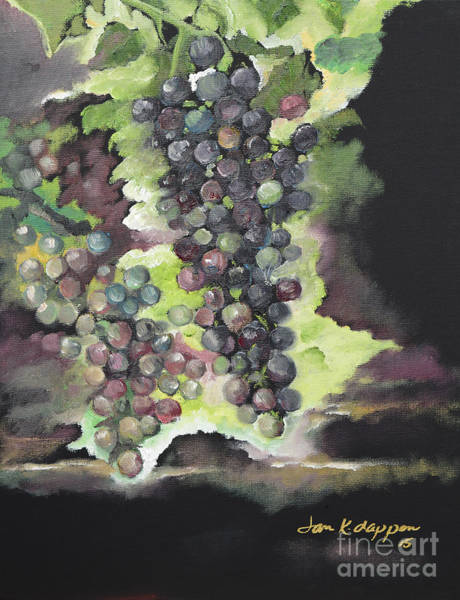 Painting - Norton Grapes - Cynthiana - Vineyard by Jan Dappen