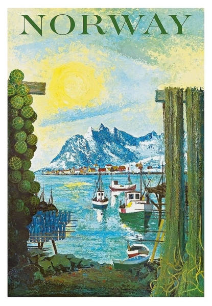 Norway Painting - Norway Coast, Vintage Travel Poster by Long Shot