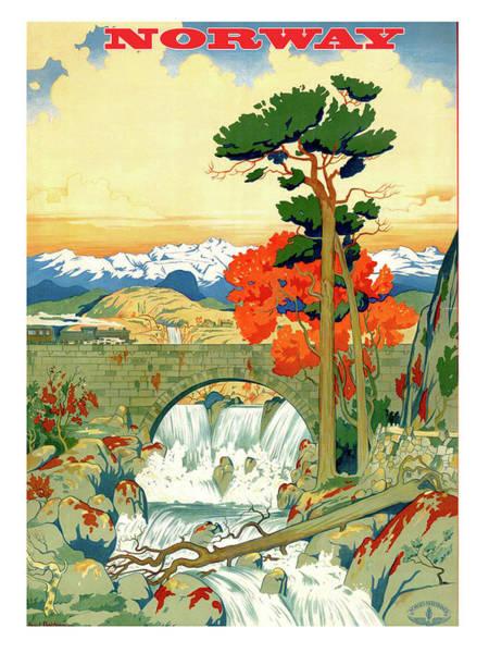 Norway Painting - Norway, Landscape, Bridge, Waterfalls by Long Shot