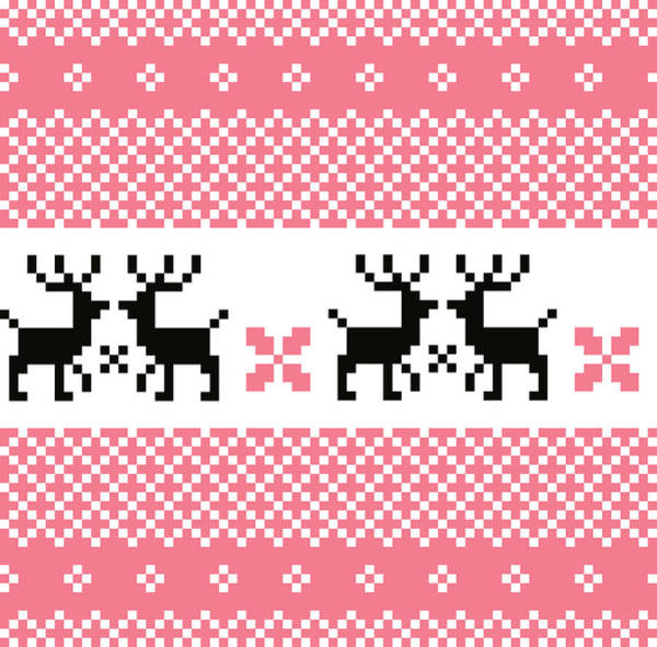 Knitting Digital Art - Norway Pattern With Love Reindeers by Bee and glow illustrations