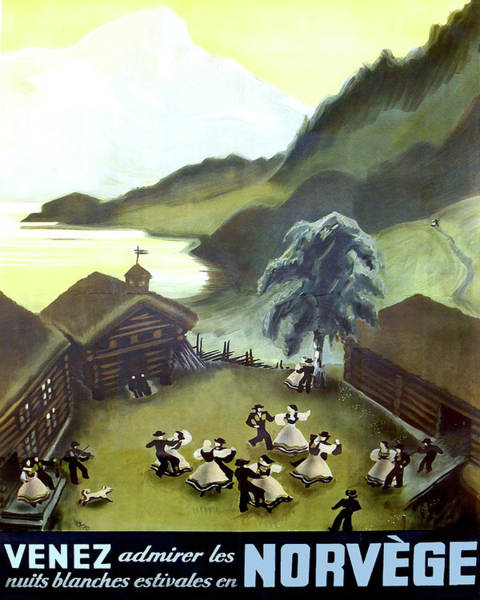 Norway Painting - Norway, Small Village, Dancing Couples by Long Shot
