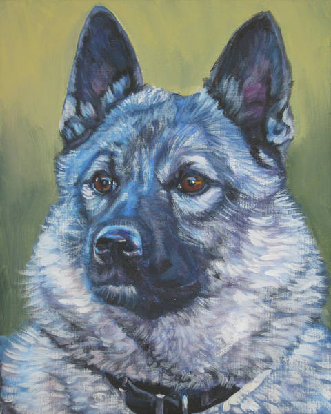 Norwegian Painting - Norwegian Elkhound by Lee Ann Shepard