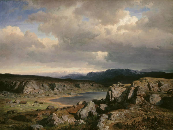 Norwegian Painting - Norwegian Highlands by Hans Gude