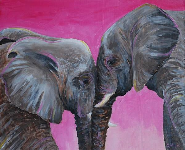 Painting - Nose To Nose In Pink by Emily Page