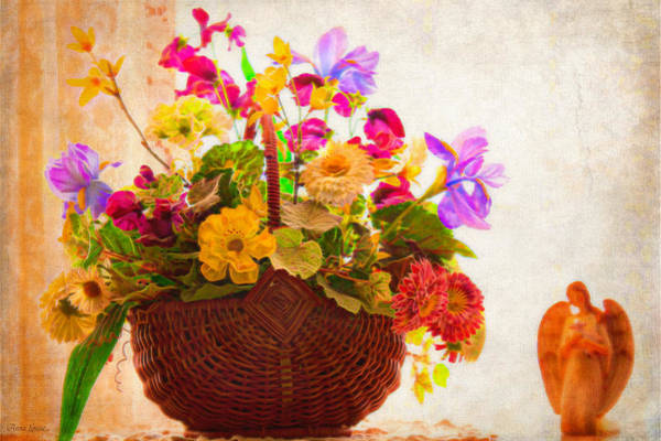 Photograph - Nostalgic Floral Basket And Angel 2 by Anna Louise