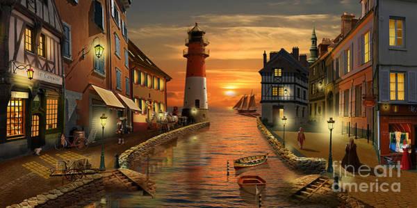 Harbor Scene Digital Art - Nostalgic Harbor At Sunset by Monika Juengling