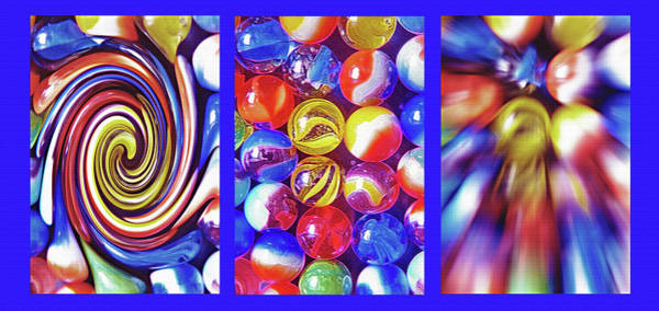 Fun Wall Art - Photograph - Nostalgic Marbles Triptych Abstract by Steve Ohlsen