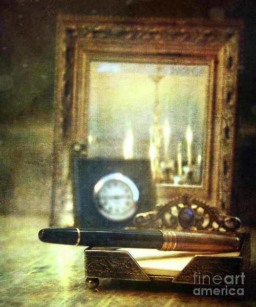 Time Frame Photograph - Nostalgic Still Life Of Writing Pen With Clock In Background by Sandra Cunningham