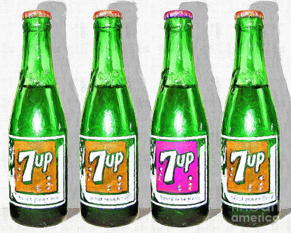Photograph - Nostalgic Vintage Pop Art 7up Four Bottles 20160220  by Wingsdomain Art and Photography