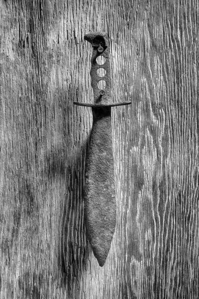 Wall Art - Photograph - Not A Bowie Knife On Plywood 75 In Bw by YoPedro