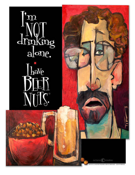 Painting - Not Drinking Alone Beer Nuts by Tim Nyberg