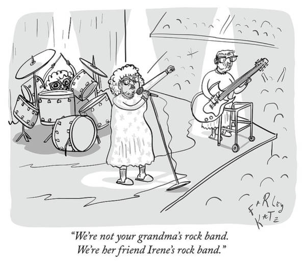 Concerts Drawing - Not Your Grandmas Rock Band by Farley Katz