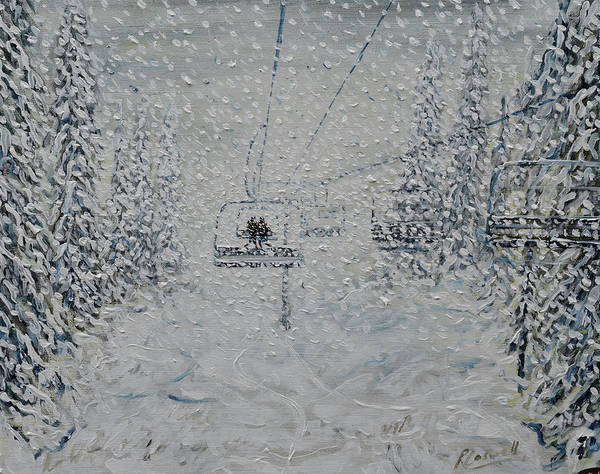 Skiing Painting - Nothing To See by Pete Caswell