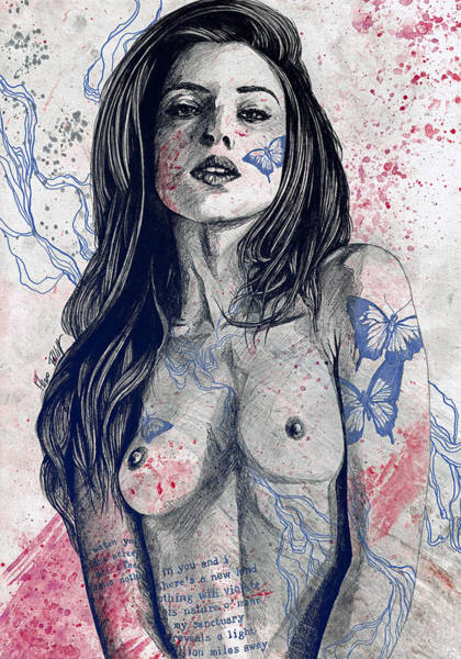 Erotic Drawing - Nothing Violates This Nature - Blue by Marco Paludet
