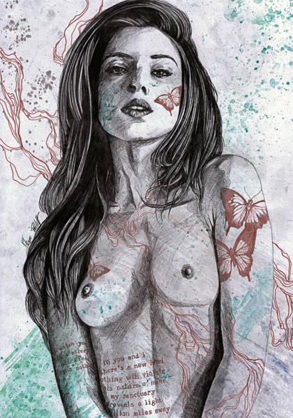 Beautiful Girl Drawing - Nothing Violates This Nature by Marco Paludet