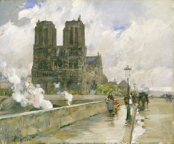 Notre Dame Painting - Notre Dame Cathedral - Paris by Childe Hassam