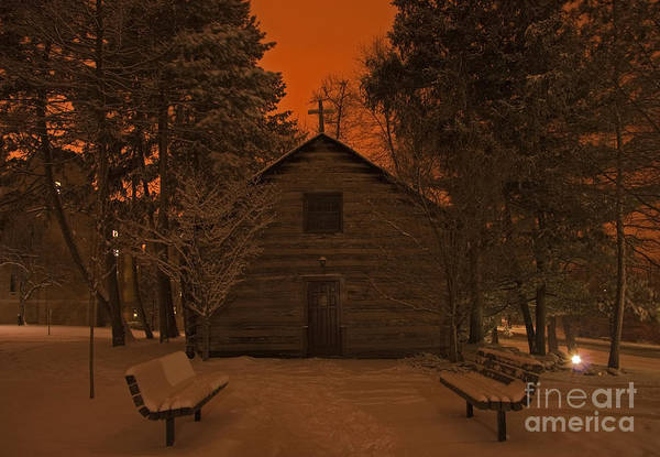 Wall Art - Photograph - Notre Dame Log Chapel Winter Night by John Stephens