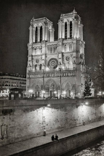 Photograph - Notre Dame Night Bw by Joan Carroll