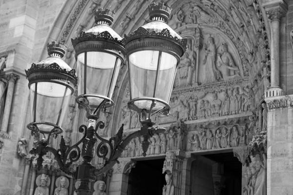 Photograph - Notre Dame Street Lights Paris France Black And White by Toby McGuire