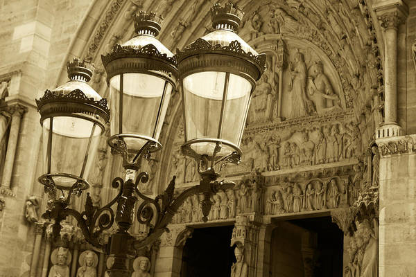 Photograph - Notre Dame Street Lights Paris France Sepia by Toby McGuire