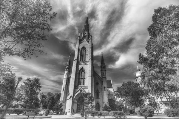 Photograph - Notre Dame University 4 Black White by David Haskett II