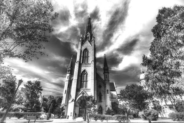 Photograph - Notre Dame University 4a Black White by David Haskett II
