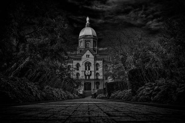Photograph - Notre Dame University Golden Dome Bw by David Haskett II