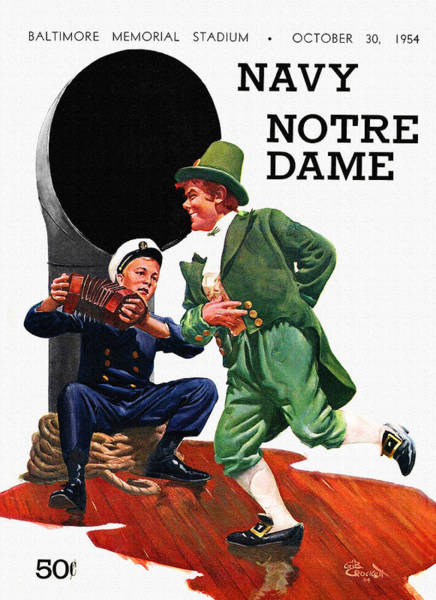 Dome Painting - Notre Dame V Navy 1954 Vintage Program by John Farr