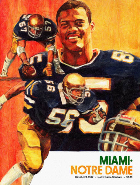 Wall Art - Painting - Notre Dame Versus Miami 1982 Program by John Farr