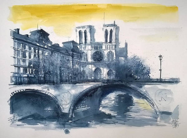 Painting - Notre Dame View by Lorand Sipos