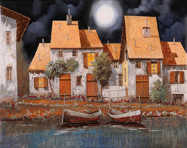 Village Painting - Notte Di Luna Piena by Guido Borelli
