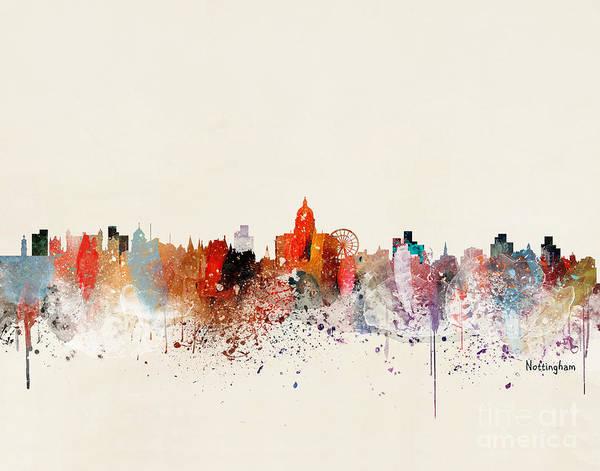 Wall Art - Painting - Nottingham Skyline by Bri Buckley