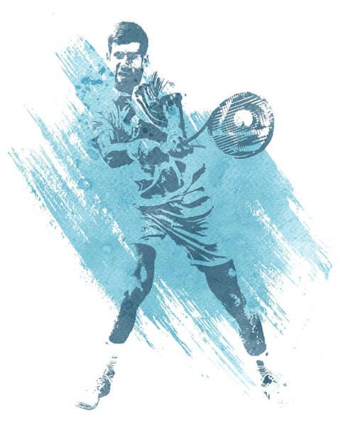 Championship Mixed Media - Novak Djokovic Tennis Water Color Art 2 by Joe Hamilton