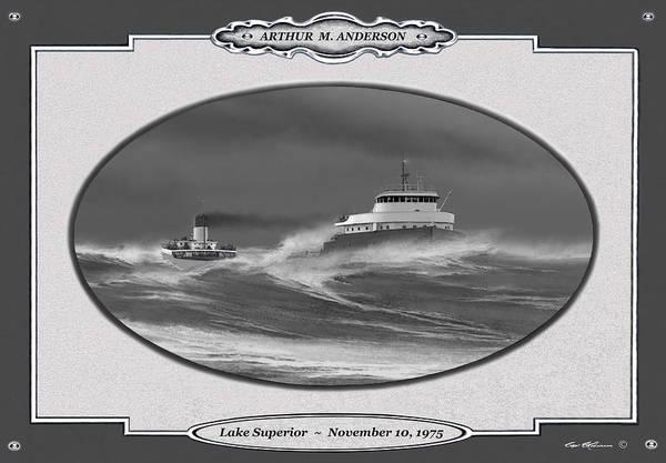 Lake Superior Painting - November 10, 1975 by Captain Bud Robinson