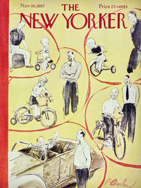 Bicycle Wheel Painting - New Yorker November 16th 1957 by Perry Barlow