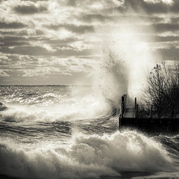 Photograph - November Gales Bw by James Meyer