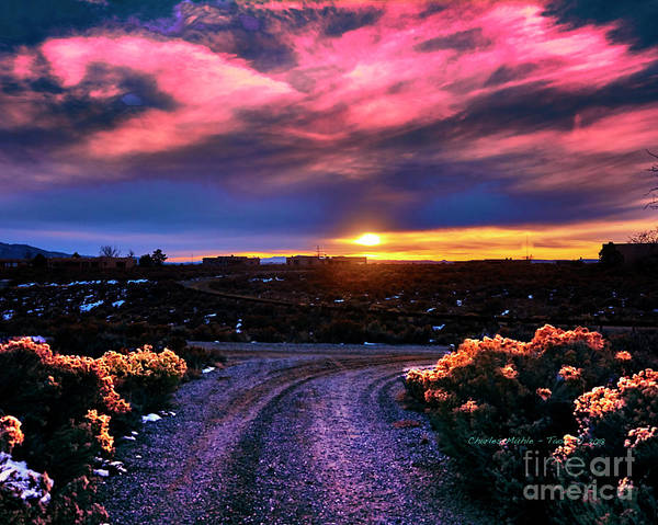 Photograph - November Sunset In Taos by Charles Muhle