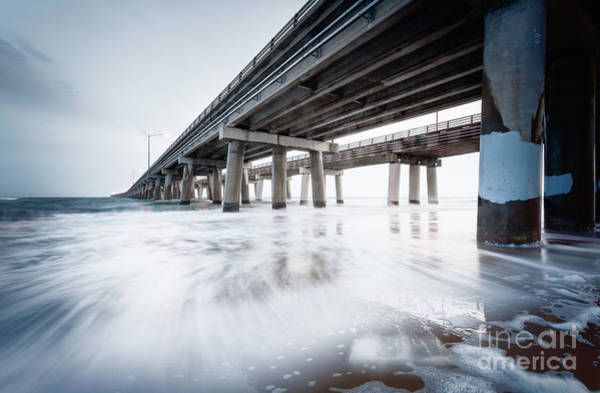 Photograph - November Surf Chesapeake Bay Bridge Tunnel by Lisa McStamp