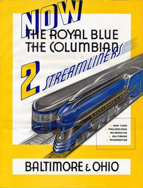 Painting - Now The Royal Blue The Columbian by Baltimore and Ohio Railroad