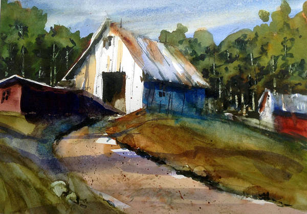Painting - Mr Svenssons White Barn by Charles Rowland
