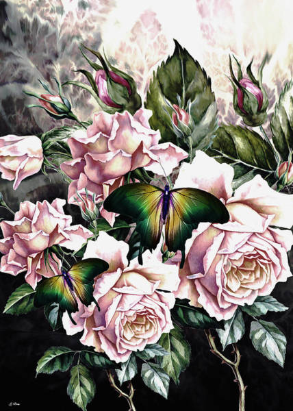 Botany Mixed Media - Roses And Butterflies 02 by G Berry