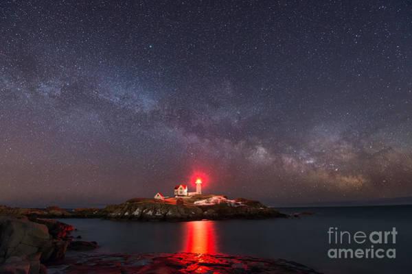 Mv Photograph - Nubble Light At Night by Michael Ver Sprill