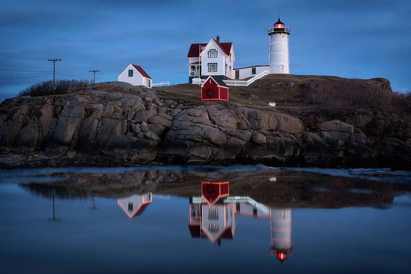 Wall Art - Photograph - Nubble Light - Holiday Lights During Blue Hour by Jeff Bazinet