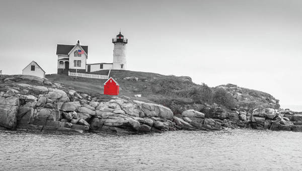 Nubble Lighthouse In Color And Black And White Art Print